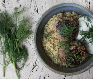 Moroccan Style Meatballs with Lemony Quinoa